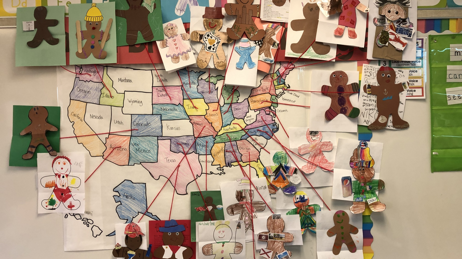 Miss Milano's kindergarten students participated in learning about other states through sharing gingerbread figures with facts on them